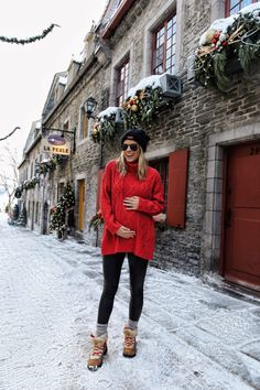 Finally sharing the details on our winter getaway to Quebec City! Where we stayed, what to do and where to eat are all covered in this travel guide. Pregnancy Fashion Winter, Winter Maternity Outfits, Stylish Maternity, Pregnancy Outfits, Casual Fall Outfits, Maternity Fashion, Winter Outfits, Early Pregnancy, Maternity Style