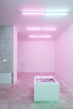 Foto: Jan Bitter Interior Architecture, Interior Design, Photo Mural, Pink Turquoise, Screenprinting, At Home Store, Neon Lighting, Pink Aesthetic, Vaporwave