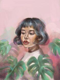 Dreamy Plant Lady Procreate Digital Painting Art Print by Anna Tomka - X-Small Painting Prints, Painting Art, Art Print, Digital Portrait, Large Prints, Digital Illustration, Lady, Drawings, Artwork