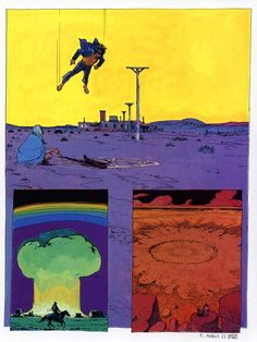 "From Moebius's short story ""Absoluten Calfeutrail"". Moebius is one of my most favorite comic artists. Jean Giraud, Manado, Comic Book Artists, Comic Artist, Georges Wolinski, Heavy Metal Comic, Science Fiction, Nogent Sur Marne, Comics"
