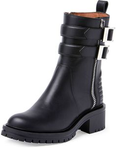 Givenchy Double-Buckled Zip Ankle Boot, Black