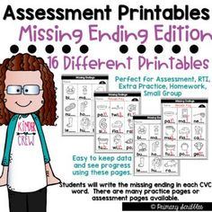 If you are like me, you need a way to assess your students or provide extra practice covering the skill of short vowel word families and missing ending sounds. I created this product to be able to assess my students quickly. I keep a data sheet on how they do each time I assess them with the same form.•This packet contains 16 different combinations of missing ending (CVC words) assessments or printables along with answer keys. In total this product contains 37 pages.
