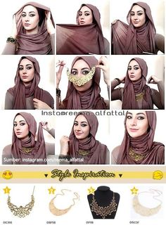 Light and airy hijab tutorial which can be worn without the necklace. Great for - Muslim Fashion Turban Hijab, Hijab Niqab, Hijab Dress, Hijab Outfit, Square Hijab Tutorial, Turban Tutorial, Hijab Style Tutorial, Necklace Tutorial, Hijab Chic