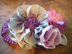 Vintage Style French Ombre Millinery Ribbon Flower Pin~Ribbonwork