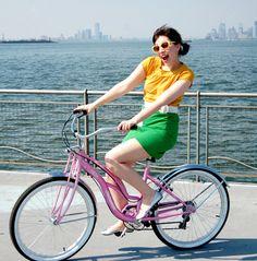 Keiko Lynn on a pink Schwinn