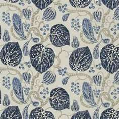 Navy Blue Floral Printed Curtain Fabric | Batcik Style |Astasia Fabric Chambray Fabric, Navy Fabric, Print Wallpaper, Fabric Wallpaper, Bold Prints, Floral Prints, Old Room, Textiles, Designers Guild