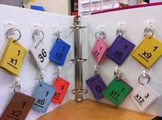 I really like this storage idea.this solves all of my problems with my multiplication center flashcards being mixed up or students not being able to find the set they need. Could also do with SIGHT words Third Grade Math, Fourth Grade, Second Grade, E Mc2, Math Facts, Multiplication Facts, Multiplication Flash Cards, Fractions, Homeschool Math