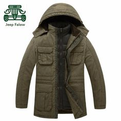 AFS JEEP Falow Original Brand Liner Detachable Thick Winter Long Coat,Below -22 F Outcoat Winter Cargo Double Inner Cotton Coats