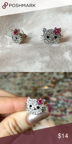 Hello Kitty Crystal Studs Excellent condition - only worn a few times. Hello Kitty Jewelry Earrings