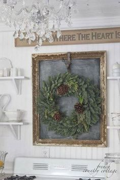 Vintage French Soul ~ Decor Inspiration - chalkboard in antique frame accented by wreath - FRENCH COUNTRY COTTAGE: Christmas in the little cottage French Country Christmas, Country Christmas Decorations, Cottage Christmas, French Country Cottage, Noel Christmas, French Country Decorating, Rustic Christmas, All Things Christmas, Winter Christmas