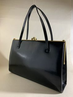 aa71e229876fa5 Peter Leigh Black Large Leather 1950s Vintage Handbag Suede Lining With  Elbief Frame | Vintage Handbags