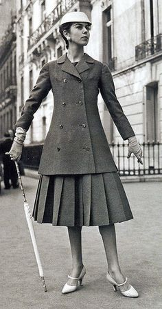 Christian Dior. A-line suit, 1955. Some of his collections; the H-line in 1954, A-line, and the Y-line in 1955 were named for the letters that resembled the silhouettes formed by the clothes. The term and shape for the A-line is still known and used to this day.