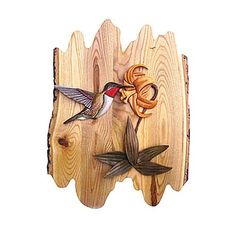 Hummingbird Wood Intarsia Wall Hanging