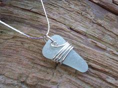 Sea glass jewelry  Pale aqua sea glass with by FatCatsOnTheBeach, $25.00