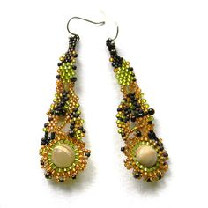 Gold Olive and Brown freeform beaded earrings by Anabel27shop