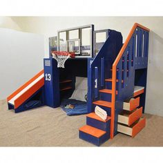 Ultimate basketball bunk bed, indoor playhouse for kids, NBA sized basketball hoop, drawers, built-i Bunk Bed With Slide, Bunk Bed With Desk, Bunk Beds With Stairs, Cool Bunk Beds, Kids Bed With Slide, Kids Beds With Storage, Desk Bed, Bunk Beds For Boys Room, Kid Beds