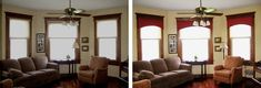 Window and ceiling fan.  FamilyRoom-CorniceInstallation