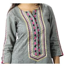 Grey Suit 3 Piece Cotton Lawn Suit Stitched - Meenabazar.PK