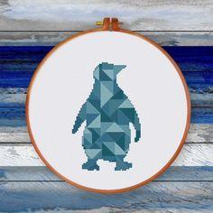 Geometric Penguin cross stitch pattern modern penguin cross stitch kit