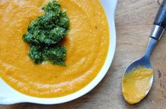 roasted carrot soup with dill pesto -- photo and recipe by alaina sullivan by reminjah