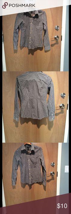 Nautica button up blouse Nautical button up blouse gingham print shirt. 100 percent cotton! Nautica Tops Button Down Shirts
