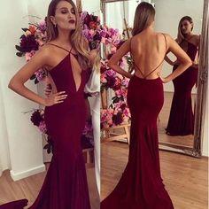 2017 Prom Dress Sexy Mermaid Spaghetti Prom Dress Burgundy Prom Dress