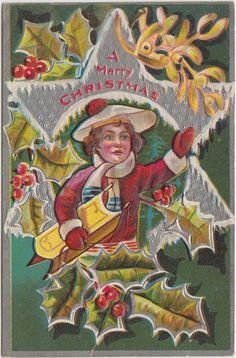 MERRY CHRISTMAS Greetings Holiday Postcard c1910 SIlver Star Sled Child 77