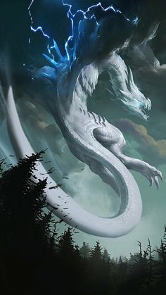 Air Dragon that reminds me of Dialga. It's definitely a dragon fighting for something. Storm cloud wings, too? Mythical Creatures Art, Mythological Creatures, Magical Creatures, Dragon Artwork, Cool Dragons, Dragon Pictures, White Dragon, Dragon Light, Blue Dragon