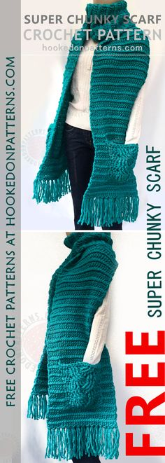 SUPER CHUNKY SCARF CROCHET PATTERN FREE - Make this free scarf with pockets, from hookedonpatterns.com. #crochet