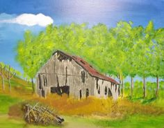 """""""Rickety Barn in the Woods"""" 20 x 16 acrylics on canvas panel"""