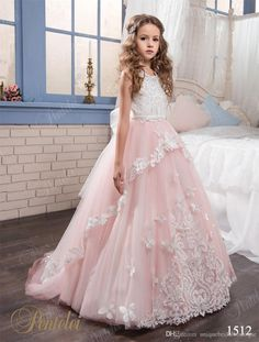 2017 Blush Flower Girls Dresses Pentelei With Jewel Neck And Keyhole Back Appliques Crystals Tulle Floor Length Mother Daughter Gowns Organza Flower Girl Dresses Girl Dresses From Uniquebridalboutique, $89.04| Dhgate.Com