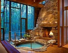 Yes Yes I will have a rock fireplace with a sunk in Jacuzzi looking out a floor to ceiling window in my home!