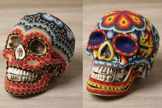 Traditional Mexican (Huichol).  Beaded skulls.  If I look half that fancy when I die, I will be satisfied.