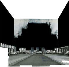 Beniamino Servino. Rilievo di sant'Ambrogio a Milano. [Sul Sagrato carrabile]. ... Metric survey of saint Ambrogio in Milan. [About the Vehicle accessible Churchyard]. [Drawn on a page of a photografical book by Gabriele Basilico].
