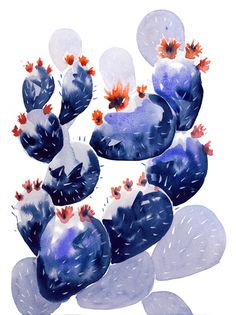 Watercolor cacti and flowers