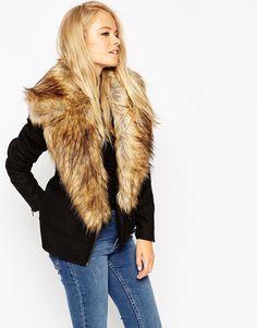 ASOS+Biker+Jacket+with+Oversized+Faux+Fur+Collar