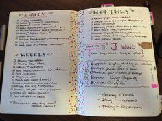 Idées #organiser - Exemple de feuille de taches journalières, hebdomadaires et mensuelles.