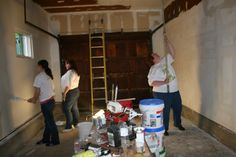 Volunteers painting the garage   #aurora #oswego http://www.foxvalleyhabitat.org  Help Others and Volunteer Today!