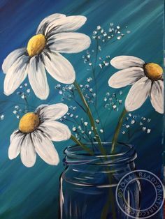 Basic daisies painted on a bluish green background... Beautiful 😊