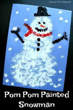Snowman Pom Pom Painting Craft Have cabin fever? Make this preschool snowman craft with pom poms! This low-prep snowman arts and crafts idea is great for little hands! Arts And Crafts For Teens, Art And Craft Videos, Arts And Crafts House, Craft Projects For Kids, Christmas Crafts For Kids, Holiday Crafts, Winter Crafts For Toddlers, Art Projects, Sewing Projects