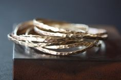 Hammered 14kt Yellow Gold Stacking Bangle  as seen on E by LexLuxe