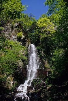 La cascade surplombée par les vestiges du Nideck.