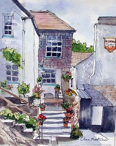 Polperro pen and wash Watercolor Journal, Pen And Watercolor, Watercolor Landscape, Watercolour Painting, Painting & Drawing, Watercolours, Art Sketches, Art Drawings, Pen And Wash