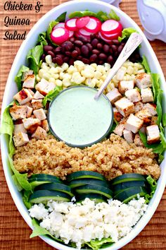 Chicken and Quinoa Salad – A quick tossed together salad loaded with protein from grilled chicken, black beans, and quinoa, then made rich and silky with a creamy cilantro dressing. This salad started as a taco salad with quinoa. Then it progressed to a quinoa lettuce wrap. This is how it turned out. A cobb salad looking dish. While there is little in common with the cobb salad, it is quite delicious. Now if you're wondering why in the world there is quinoa in a salad, I have a quick…