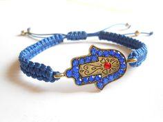 Hamsa bracelet Macrame Wax cord bracelet Protection by HVart, $8.95