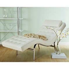 Have to have it. Euro Style Valencia Leather Chaise Lounge - $1201 @hayneedle