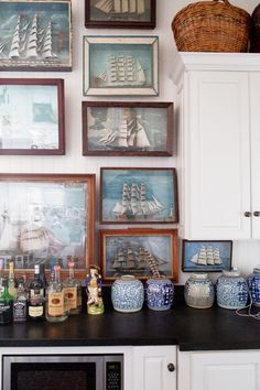 sail boat art in kitchen wet bar via citrus house in l.a. / sfgirlbybay