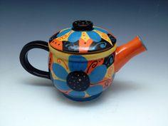 Teapot Beautiful Handpainted Handmade Ceramic by JeanEltonPottery