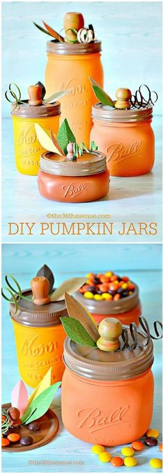 Adorable! 12 DIY Fall home decor tutorials. These mason jar crafts could be a perfect centerpiece for my table.