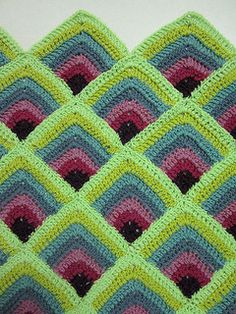 For the Mermaid Blanket Double crochet mitred squares pattern by pandatomic